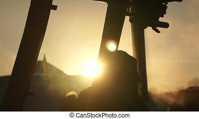 Hot air balloon at sunset, close-up