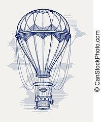 Hot air balloon ball pen sketch vector illustration