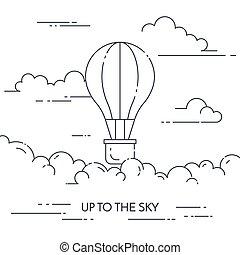 Hot air balloon banner Flat line art vector