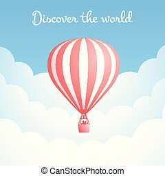 Hot air balloon cloud travel motivation banner