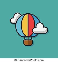 hot air balloon color line icon