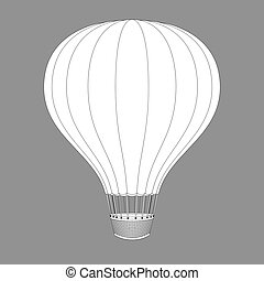 Hot Air Balloon. Contour Drawings for Color Design