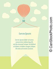 Hot Air Balloon with Clouds and banner retro template card