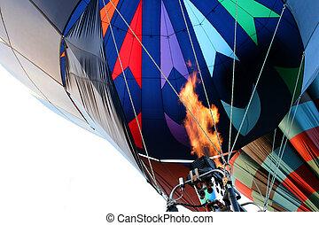 hot air balloon - firing the burner - hot air balloon ready...