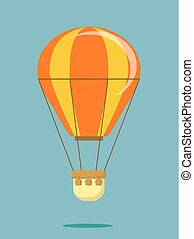 Hot air balloon . Flat cartoon design.
