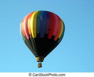Hot air balloon floating in the air. London Balloon Festival...