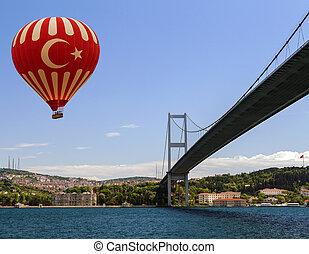 Hot air balloon flying Bosphorus bridge