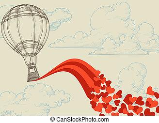 Hot air balloon flying hearts romantic concept