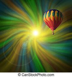 Hot-Air Balloon Flying in a Vortex
