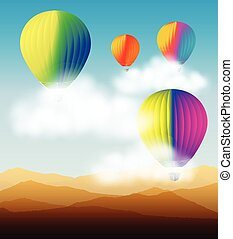 hot air balloon flying on the blue sky
