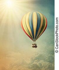 Hot air balloon high in the sky