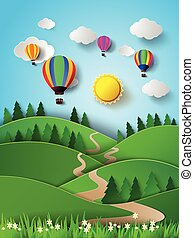 Hot air balloon high in the sky wit - Vector illustration ...