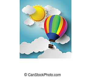 Hot air balloon high in the sky with sunlight.Vector...