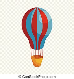 Hot air balloon icon, cartoon style
