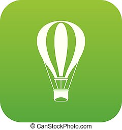 Hot air balloon icon digital green