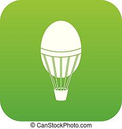 Hot air balloon icon digital green
