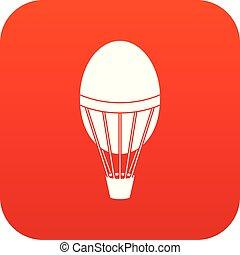 Hot air balloon icon digital red
