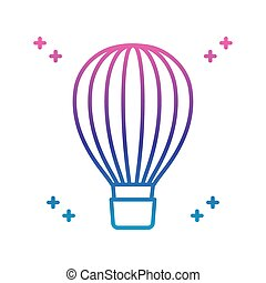 hot air balloon icon, gradient line style