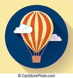 hot air balloon icon in the sky vector