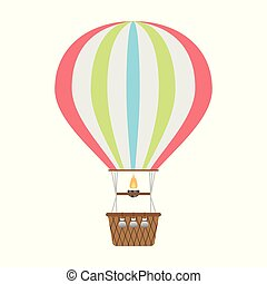 Hot air balloon icon. Vector design element isolated on light background.