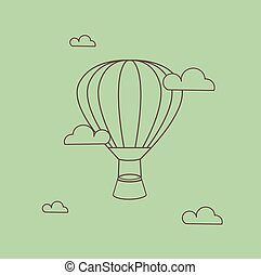 Hot Air Balloon Illustration Line Art on Green Background