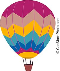 Hot air balloon, illustration, vector on white background.