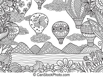 hot air balloon - Line art design of Hot air balloons in...
