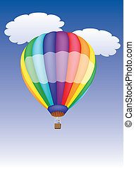 hot air balloon in a cloudy sky vector illustration