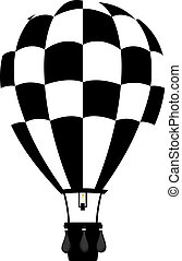 Hot air balloon in black and white colour with basket and...