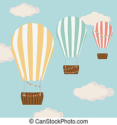 Hot air balloon in blue with clouds