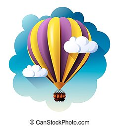 hot air balloon in clouds vector.