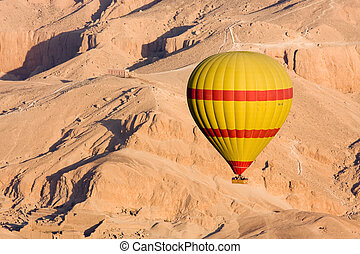 Hot air balloon in Egypt - Hot air balloon flying over the...
