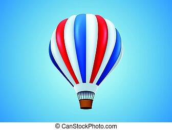 Hot air balloon in flight background.