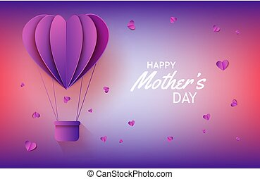 Hot air balloon in form of heart in paper art on gradient background for Mothers Day banner.