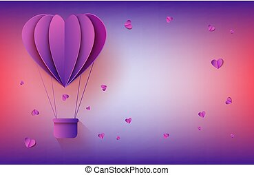 Hot air balloon in form of heart in paper art on gradient background for romantic greeting card.