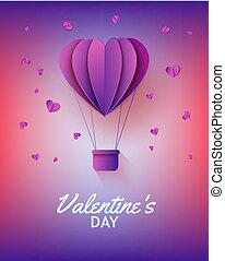 Hot air balloon in form of heart in paper art on gradient background for Valentines Day greeting card.
