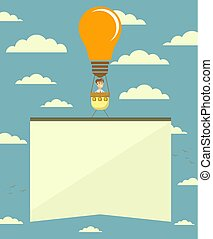Hot air balloon in the form of lightbulb with banner. Vector