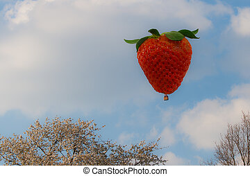 hot air balloon in the shape of a strawberry