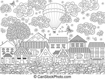 hot air balloon in the sky above the cute city for your coloring
