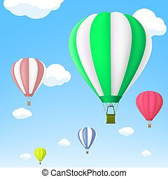 Hot air balloon in the sky. Stock vector.