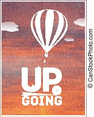 hot air balloon in the sky: typographic poster