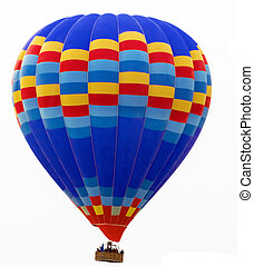 hot air striped balloon isolated on white background