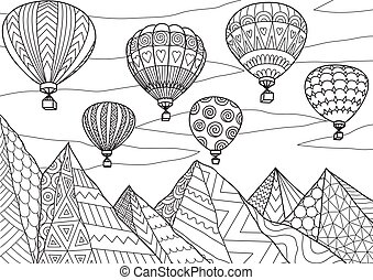 Hot air balloon - Line art drawing with editable stroke ...