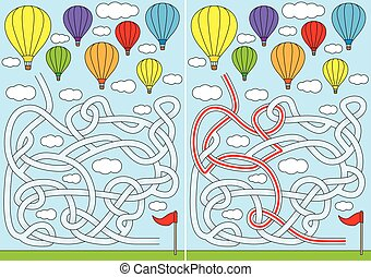 Hot air balloon maze for kids with a solution