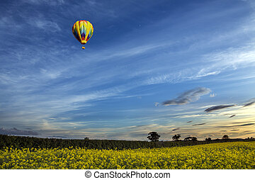 Hot Air Balloon - North Yorkshire Countryside - England