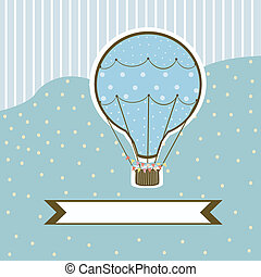 Hot air balloon on a blue background with stripes with a...