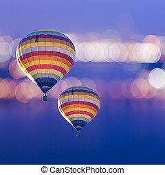 Hot air balloon on blur bokeh background