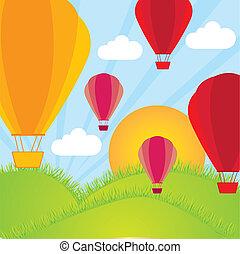 hot air balloon  on mountains