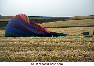 Hot air balloon on the ground