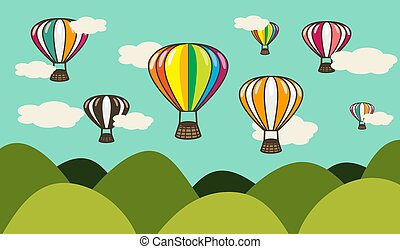 Hot Air Balloon over Hills Illustration